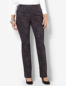 Slimmer Classic Feather Print Jean by CATHERINES