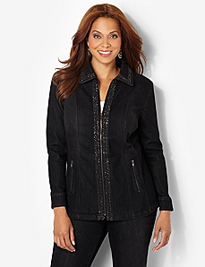 Shimmer Trim Jacket by CATHERINES
