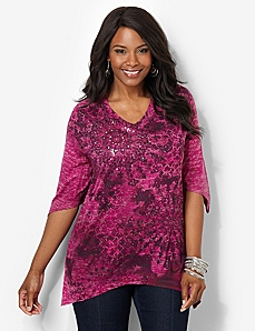 Colorburst V-Neck Top by CATHERINES