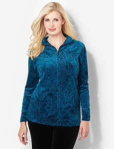 Paisley Velour Jacket by CATHERINES