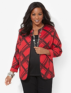 Perfectly Plaid Reversible Jacket by CATHERINES
