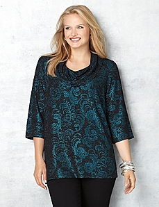 Lace Scroll Cowlneck