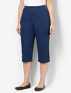Everyday Fit Denim Capri by CATHERINES
