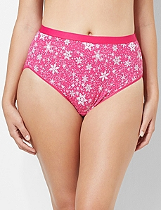Glitter Snowflake Cotton Hi-Cut Brief by CATHERINES