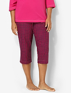 Plaid Soft Slumber Sleep Capri by CATHERINES