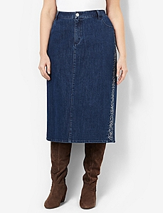 Embroidered Denim Skirt by CATHERINES