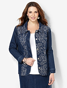 Embroidered Denim Jacket by CATHERINES