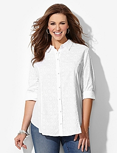 Light Eyelet Shirt by CATHERINES