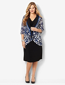 Damask Jacket Dress by CATHERINES