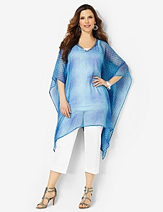 Pixel Print Poncho by CATHERINES