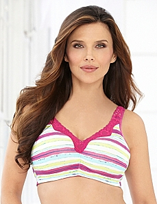 Stripe Splash No-Wire Cotton Comfort Bra