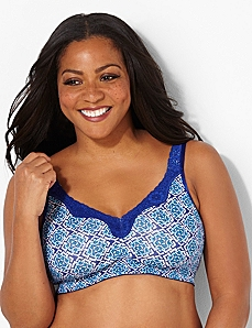 Diamond Tile No-Wire Cotton Comfort Bra by CATHERINES