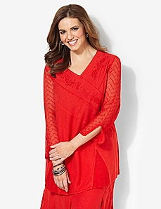 Textured V-Neck Tunic
