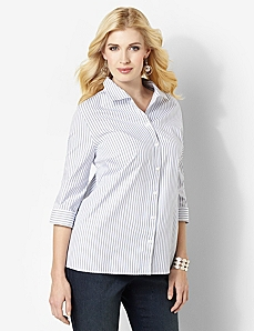 Non-Iron Striped Buttonfront by CATHERINES
