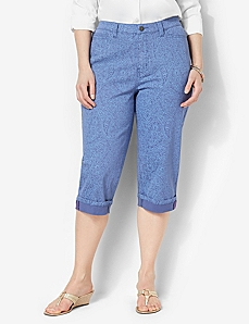 Paisley Denim Capri by CATHERINES