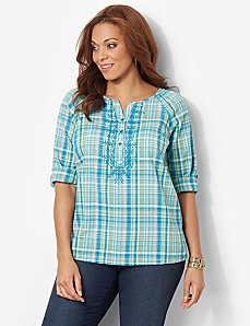 Daytona Plaid Peasant by CATHERINES