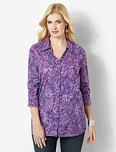 Allover Print Blouse by CATHERINES
