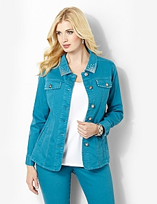 Rhinestone Denim Jacket by CATHERINES