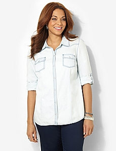 Classic Chambray Shirt by CATHERINES