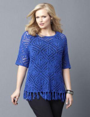 AnyWear Crochet Fringe Sweater