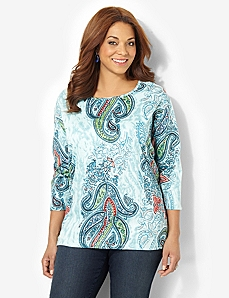 Sequin Paisley Tee by CATHERINES