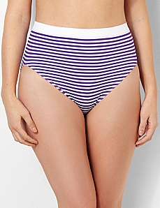 Striped Seamless Hi-Cut Brief
