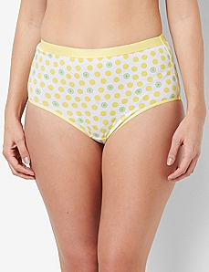 Polka Dot Flourish Cotton Hi-Cut Brief by CATHERINES
