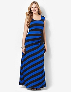 Cinched Stripe Maxi by CATHERINES