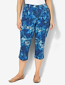 Palm Tree Denim Capri