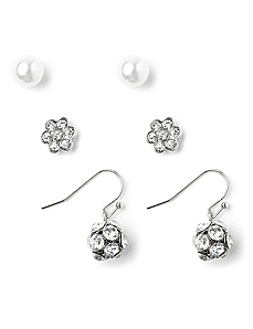 Polished 3-Pair Earring Set