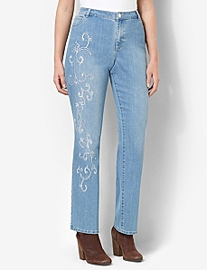Embroidered Vine Jean