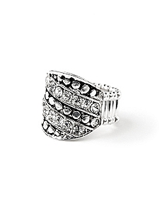 Rows Of Rhinestones Ring