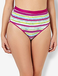 Stripe Splash Cotton Hi-Cut Brief by CATHERINES