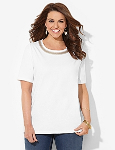 Sequin Glow Tee by CATHERINES