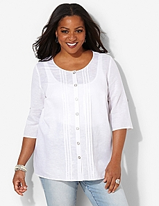 Airy Linen Shirt by CATHERINES