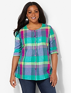Pastel Plaid Shirt by CATHERINES