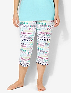 Be Yourself Wordwrap Sleep Capri by CATHERINES