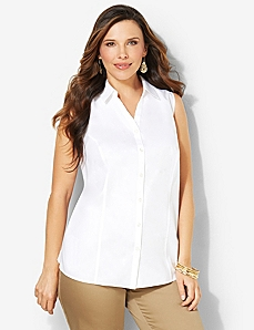 Non-Iron Sleeveless Shirt by CATHERINES