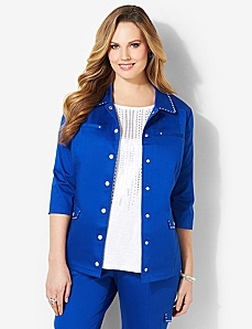 Sateen Stud Jacket by CATHERINES