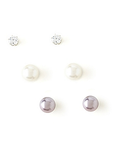 Sparkle & Sheen 3-Pair Earring Set