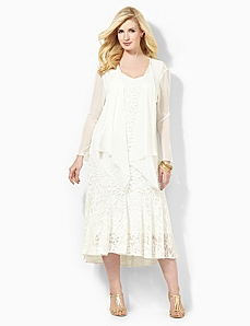 Angel Lace Jacket Dress by CATHERINES