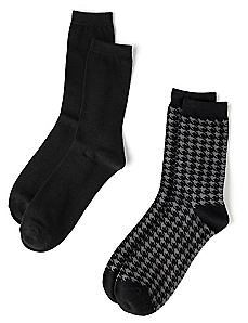 Houndstooth & Solid 2-Pack Socks