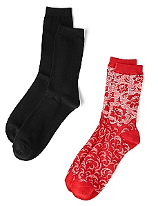 Floral & Solid 2-Pack Socks