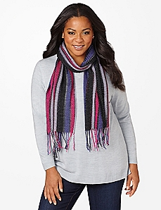 Striped Lurex Scarf