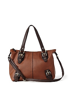 Two-Tone Buckle Tote