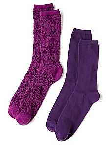 Purple Solid & Textured 2-Pack Socks