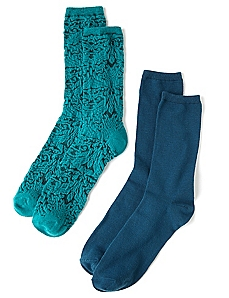 Jade Solid & Textured 2-Pack Socks