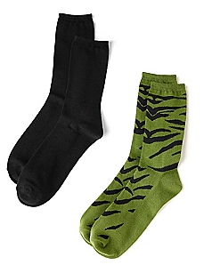 Animal & Solid 2-Pack Socks