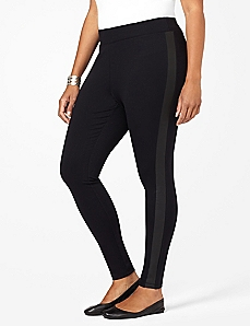 Faux Leather Trim Legging