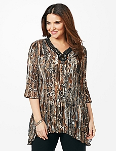 Snake Charmer Pleated Top